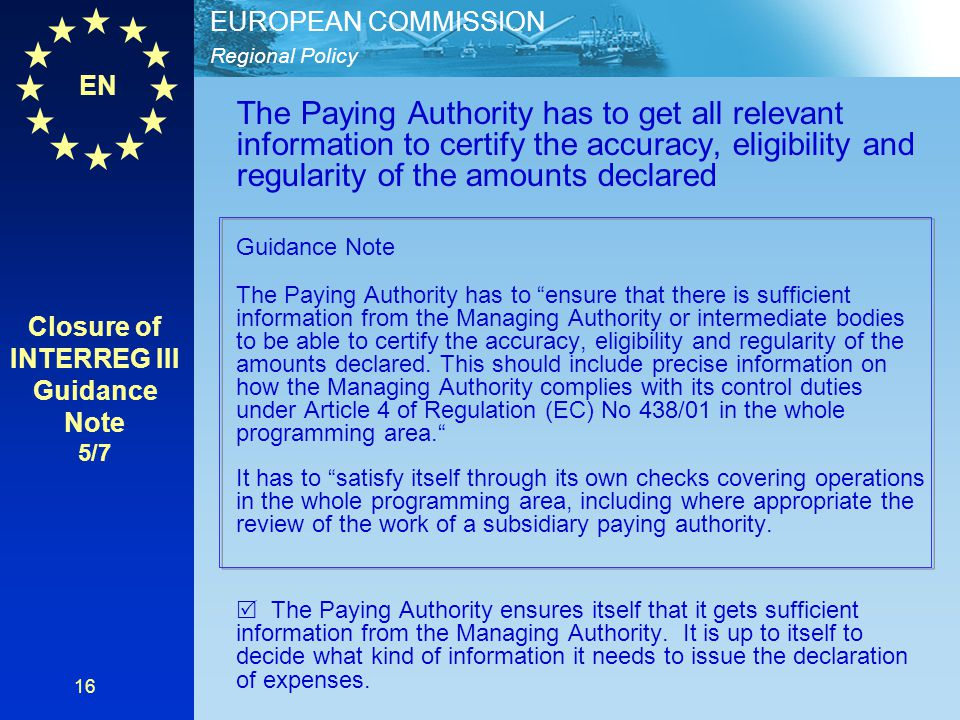 Closure of INTERREG III Guidance Note 5/7