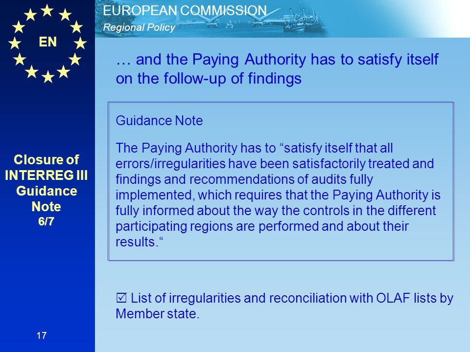 Closure of INTERREG III Guidance Note 6/7