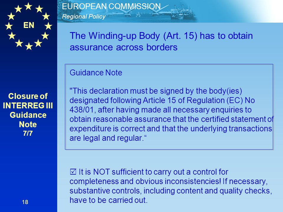 Closure of INTERREG III Guidance Note 7/7