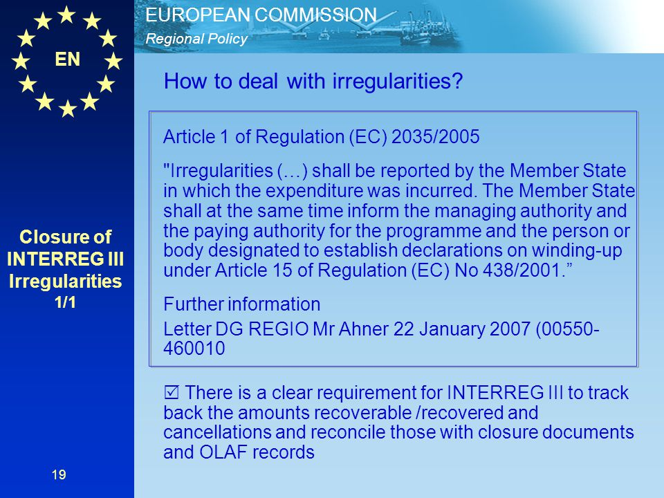 Closure of INTERREG III Irregularities 1/1