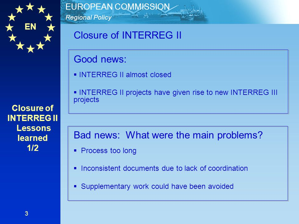 Closure of INTERREG II Lessons learned 1/2