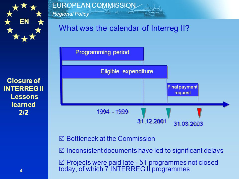 Closure of INTERREG II Lessons learned 2/2