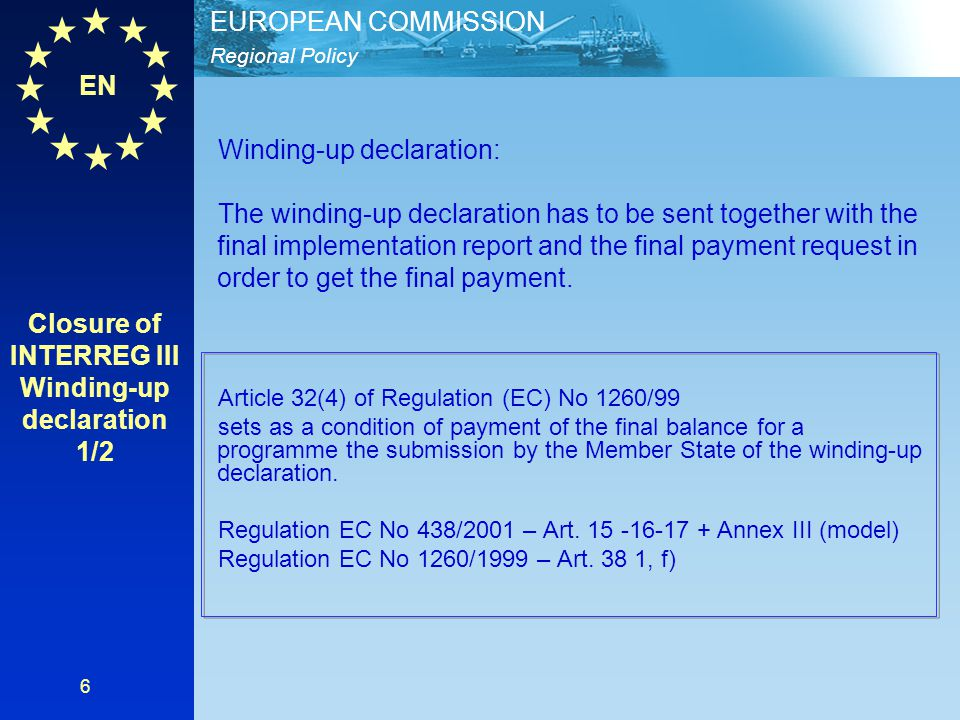 Closure of INTERREG III Winding-up declaration 1/2