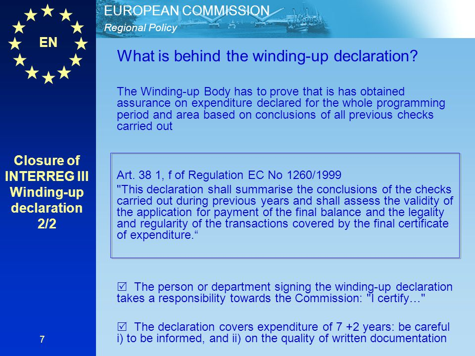 Closure of INTERREG III Winding-up declaration 2/2