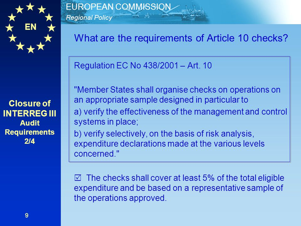 Closure of INTERREG III Audit Requirements 2/4