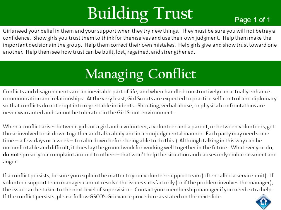 Building Trust Managing Conflict Page 1 of 1
