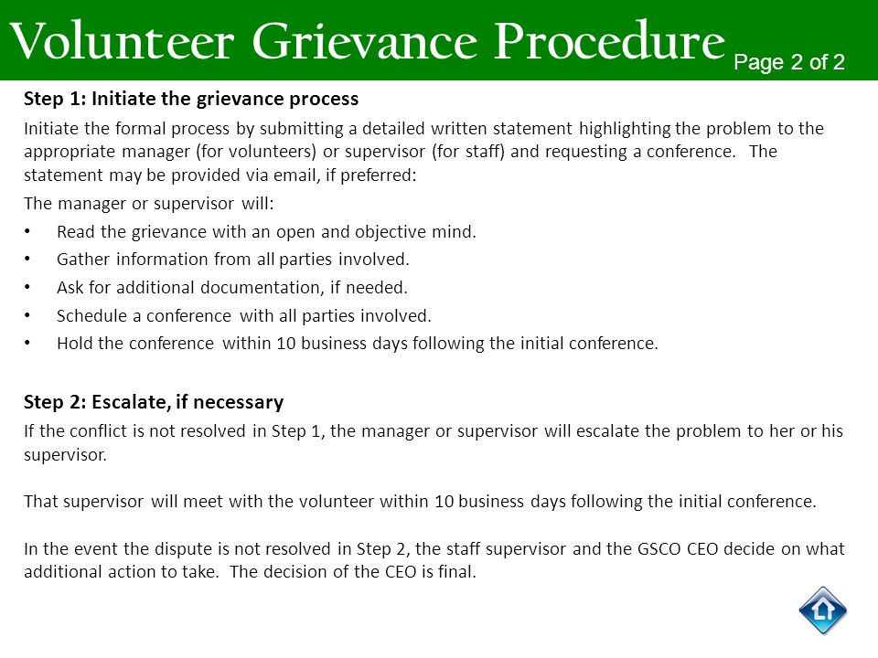 Volunteer Grievance Procedure