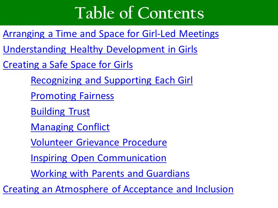 Table of Contents Arranging a Time and Space for Girl-Led Meetings