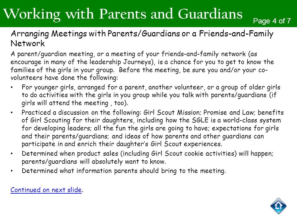 Working with Parents and Guardians