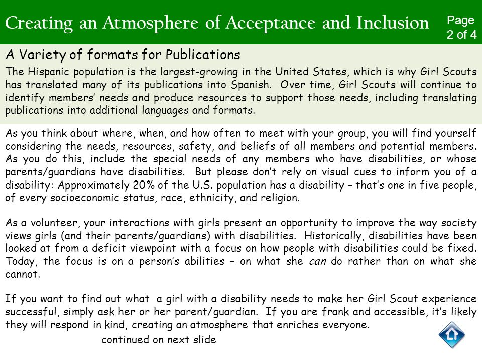 Creating an Atmosphere of Acceptance and Inclusion