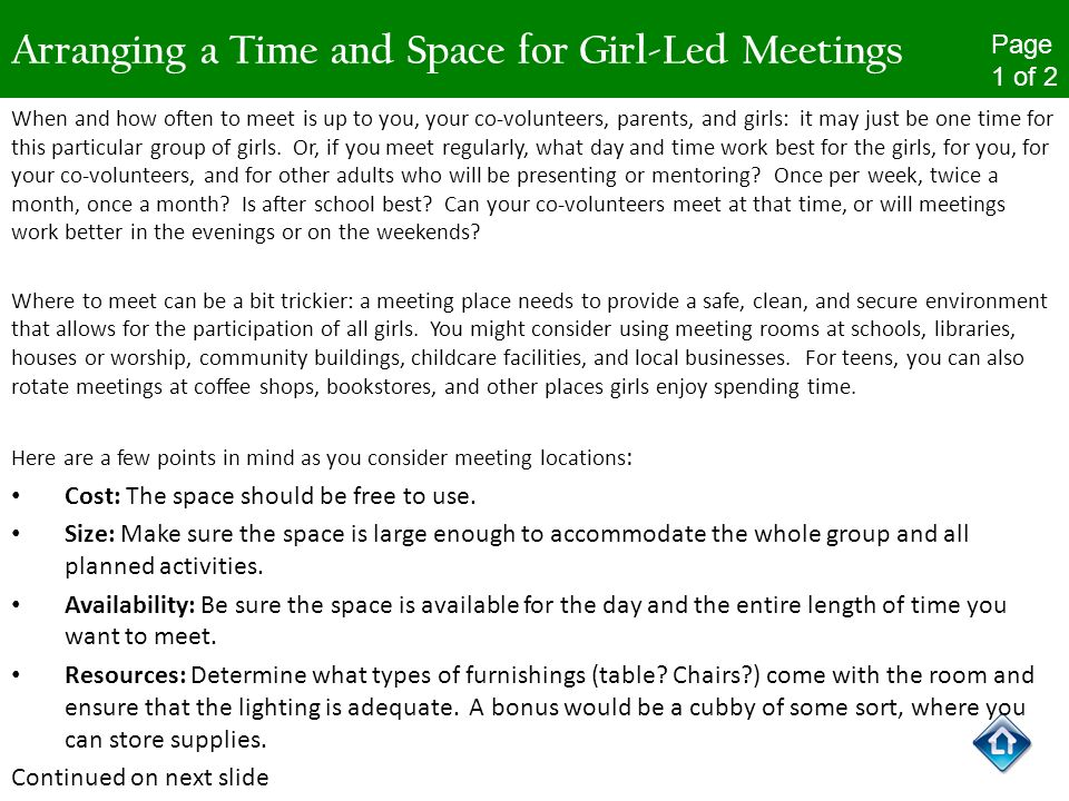 Arranging a Time and Space for Girl-Led Meetings