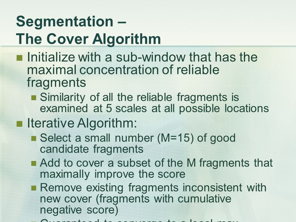 Segmentation – The Cover Algorithm