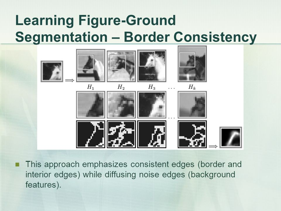 Learning Figure-Ground Segmentation – Border Consistency