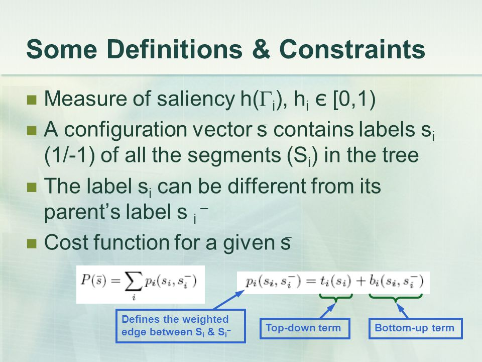 Some Definitions & Constraints