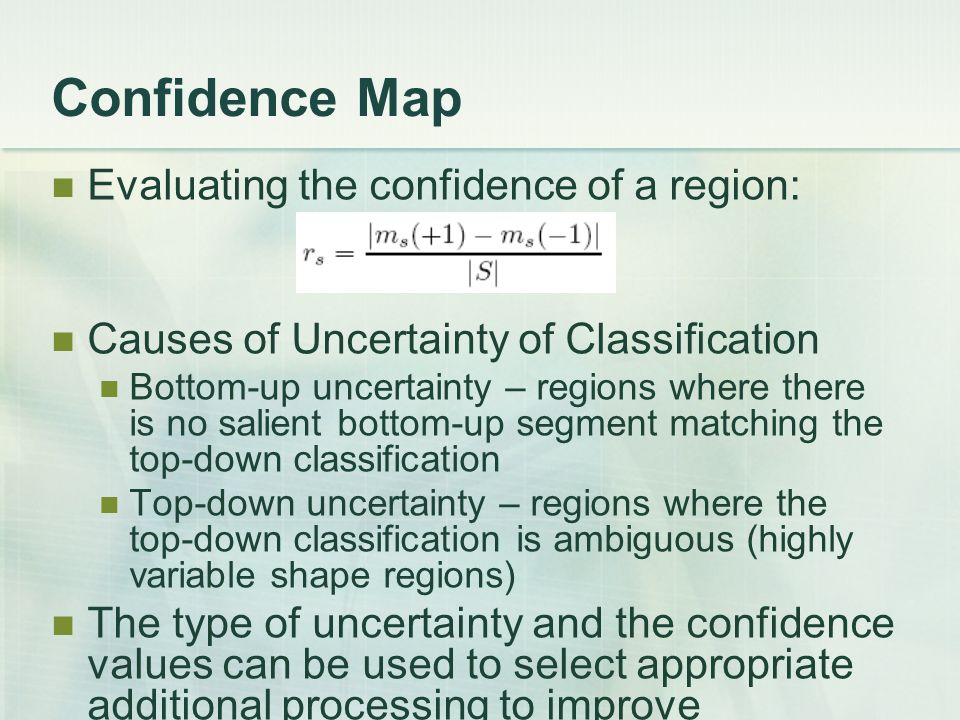 Confidence Map Evaluating the confidence of a region: