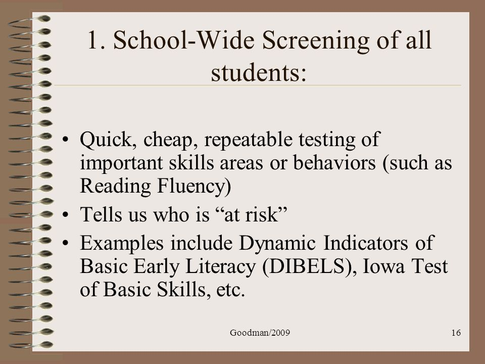 1. School-Wide Screening of all students: