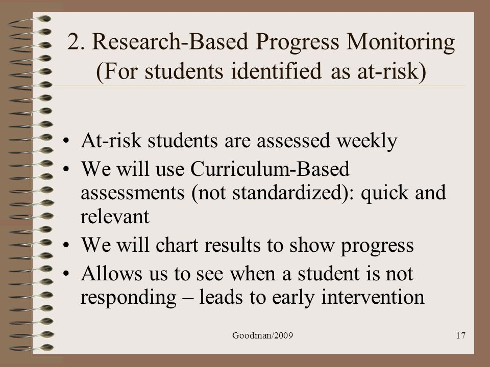 2. Research-Based Progress Monitoring (For students identified as at-risk)