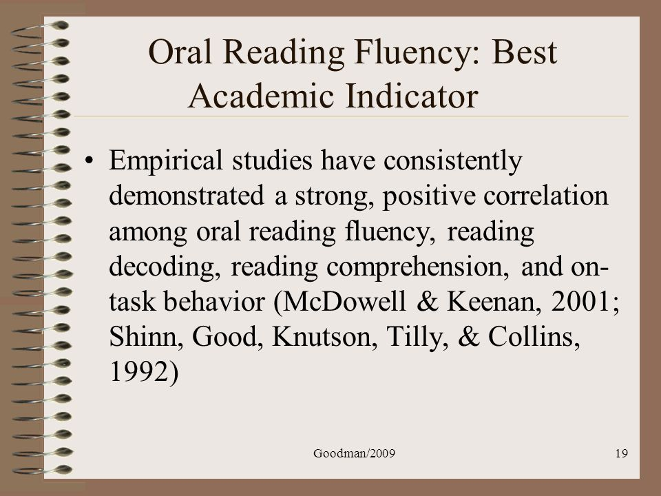 Oral Reading Fluency: Best Academic Indicator