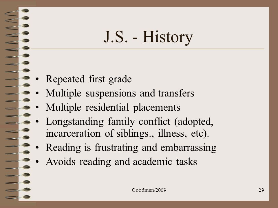 J.S. - History Repeated first grade Multiple suspensions and transfers