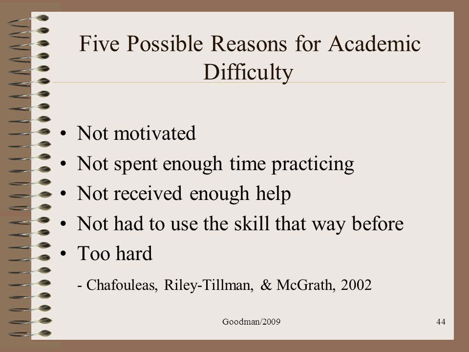 Five Possible Reasons for Academic Difficulty