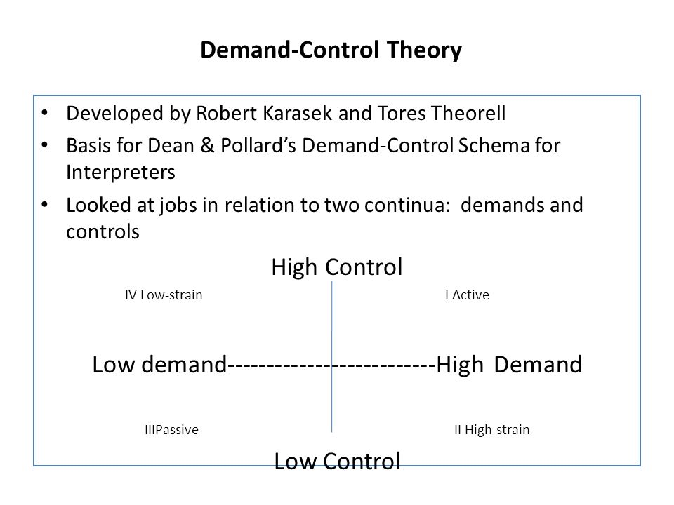Demand-Control Theory
