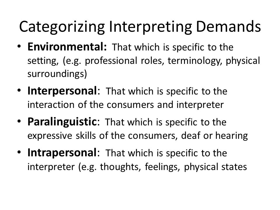 Categorizing Interpreting Demands