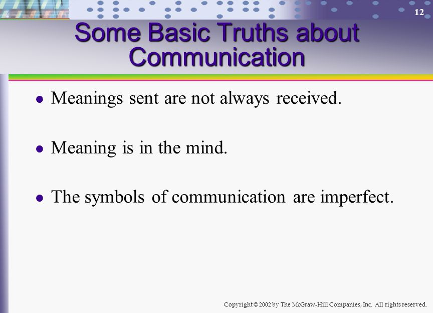 Some Basic Truths about Communication