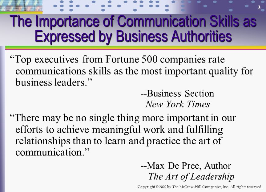 The Importance of Communication Skills as Expressed by Business Authorities