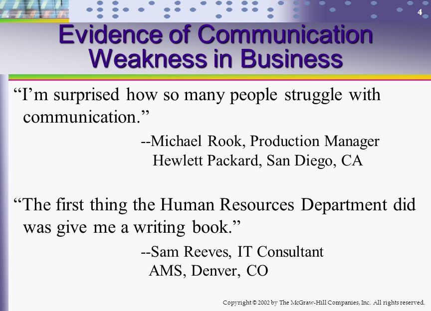 Evidence of Communication Weakness in Business