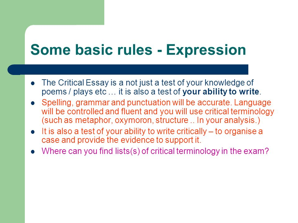 Some basic rules - Expression
