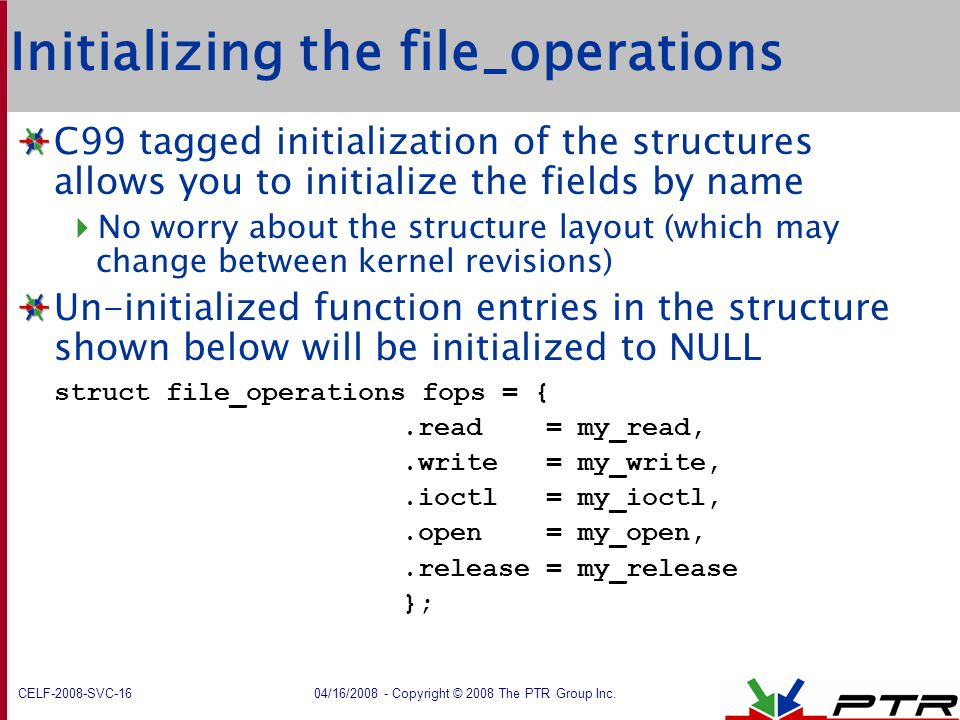 Initializing the file_operations