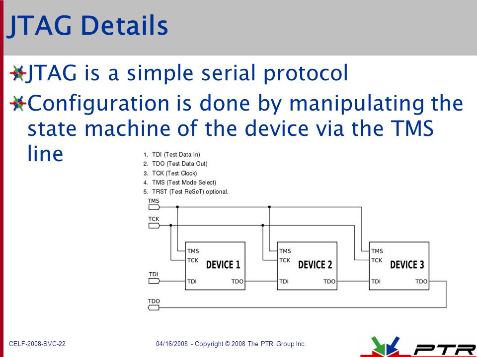 JTAG Details JTAG is a simple serial protocol
