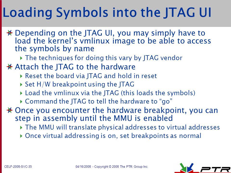Loading Symbols into the JTAG UI
