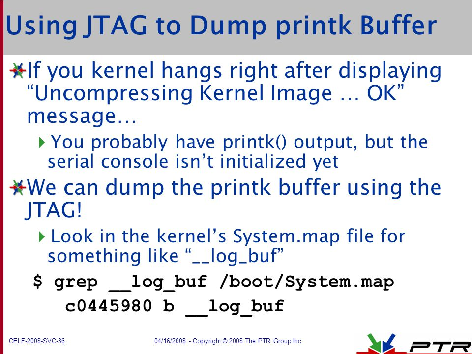 Using JTAG to Dump printk Buffer