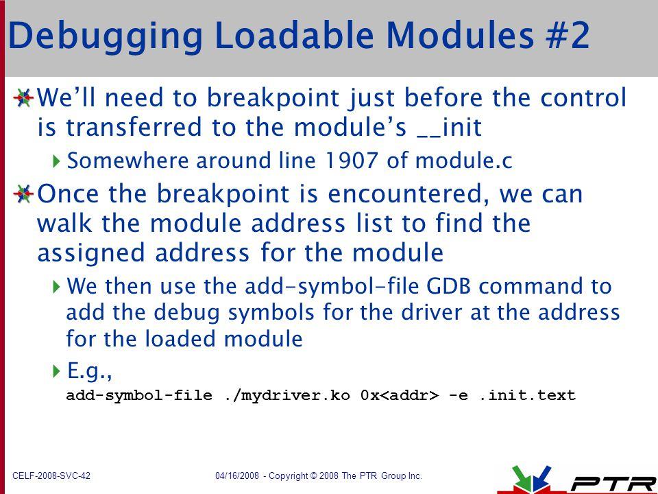 Debugging Loadable Modules #2