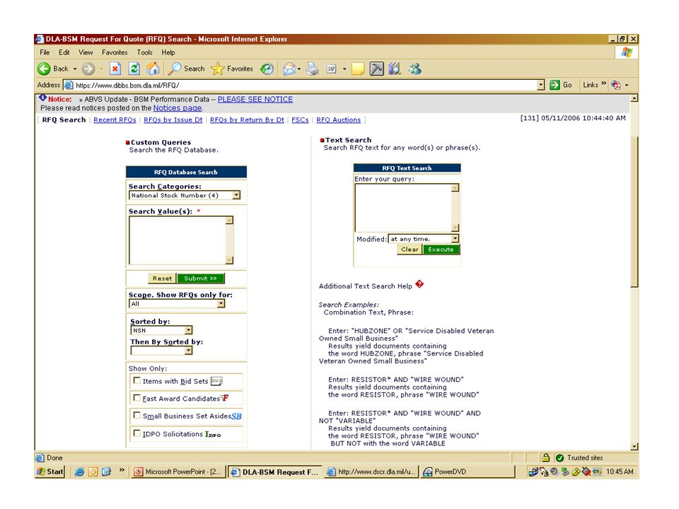 RFQ Search Screen from DIBBs.