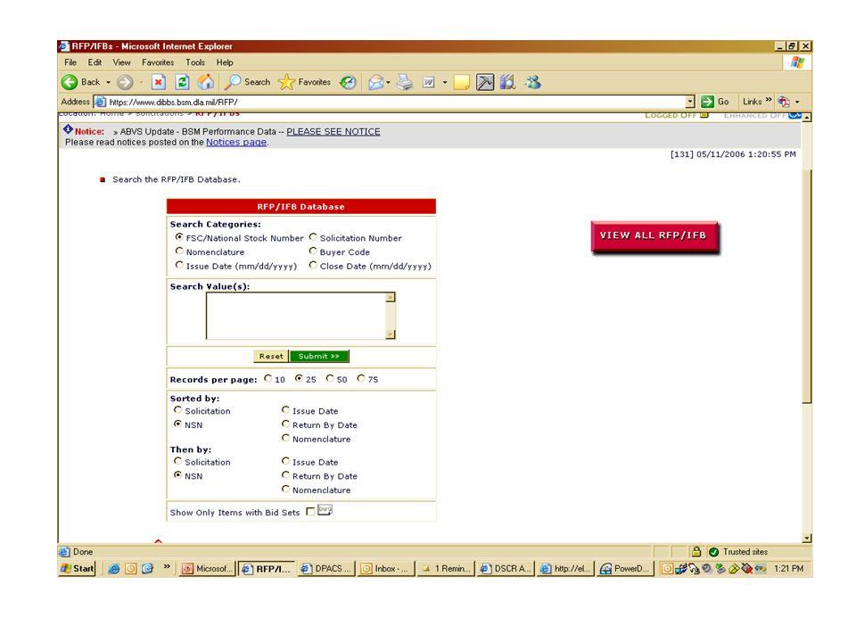 RFP DIBBs search site.