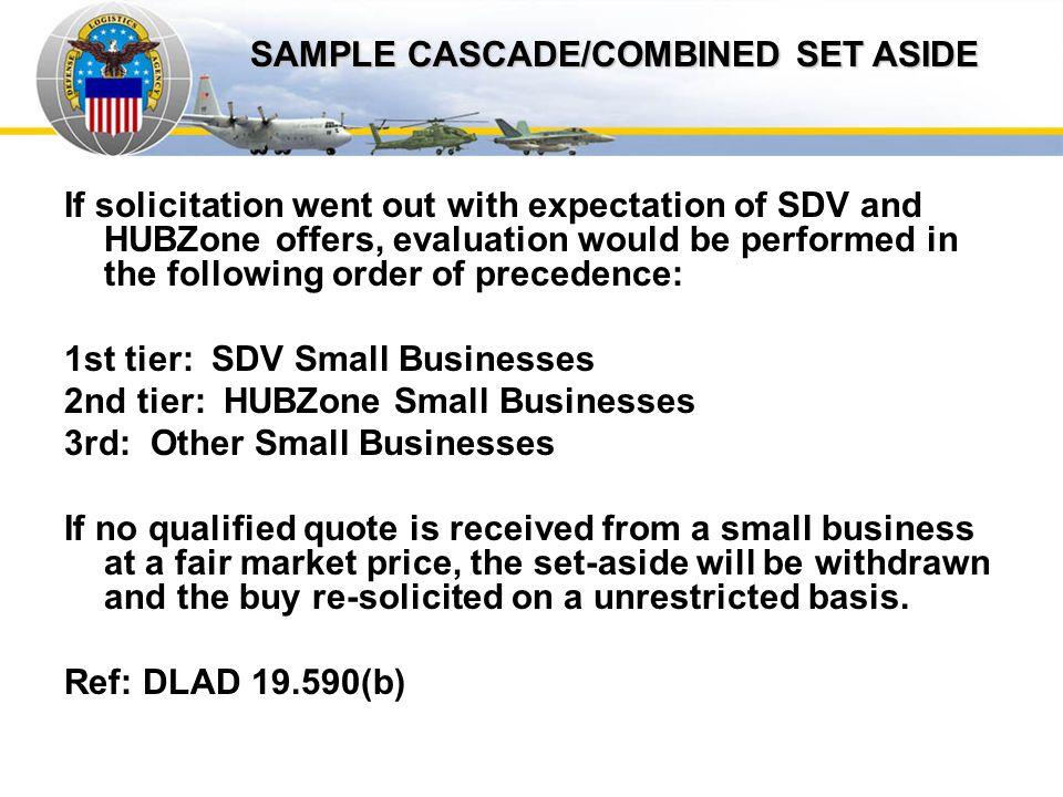 Sample Cascade SAMPLE CASCADE/COMBINED SET ASIDE
