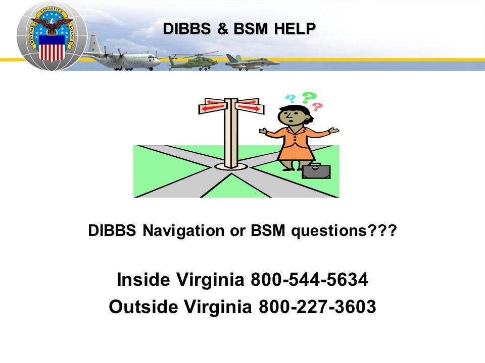 DIBBS Navigation or BSM questions