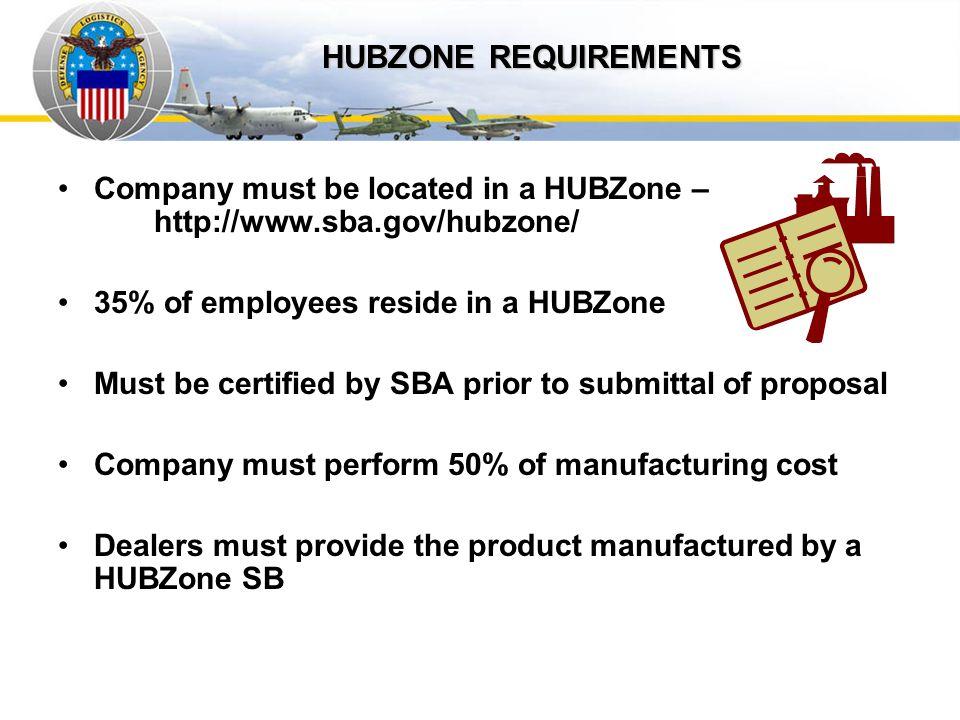 Auto IDPOs HUBZONE REQUIREMENTS