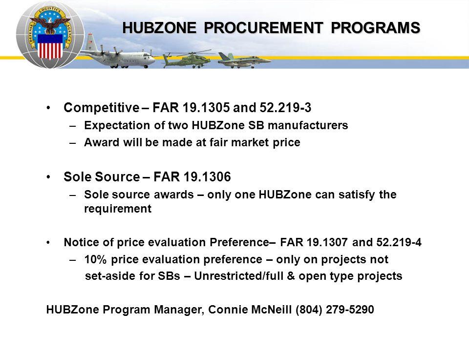 Auto IDPOs HUBZONE PROCUREMENT PROGRAMS