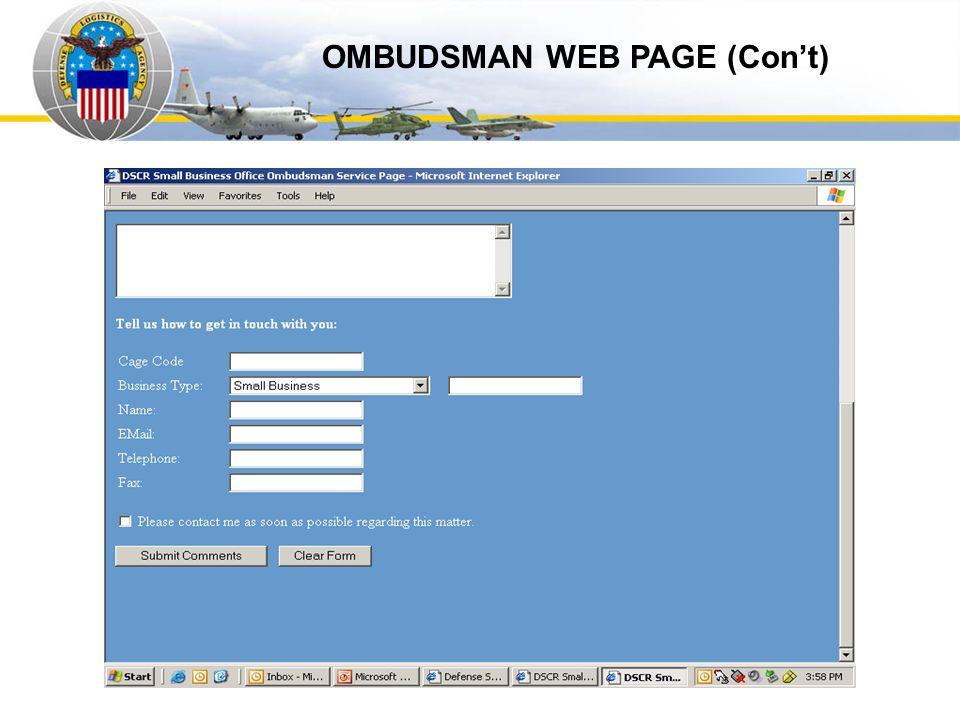 Auto IDPOs OMBUDSMAN WEB PAGE (Con't)