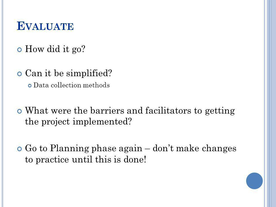Evaluate How did it go Can it be simplified