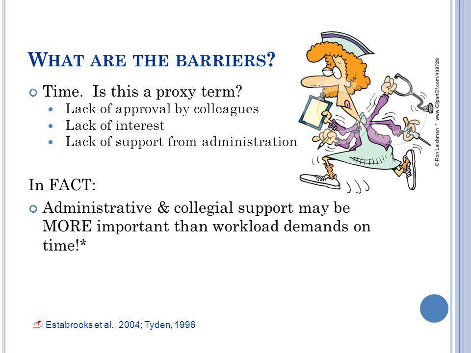 What are the barriers Time. Is this a proxy term In FACT: