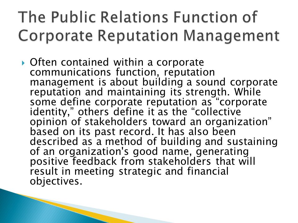 The Public Relations Function of Corporate Reputation Management