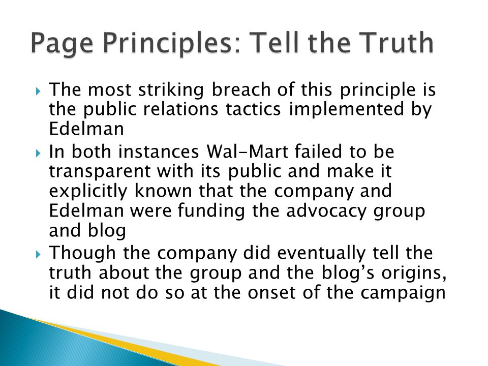 Page Principles: Tell the Truth