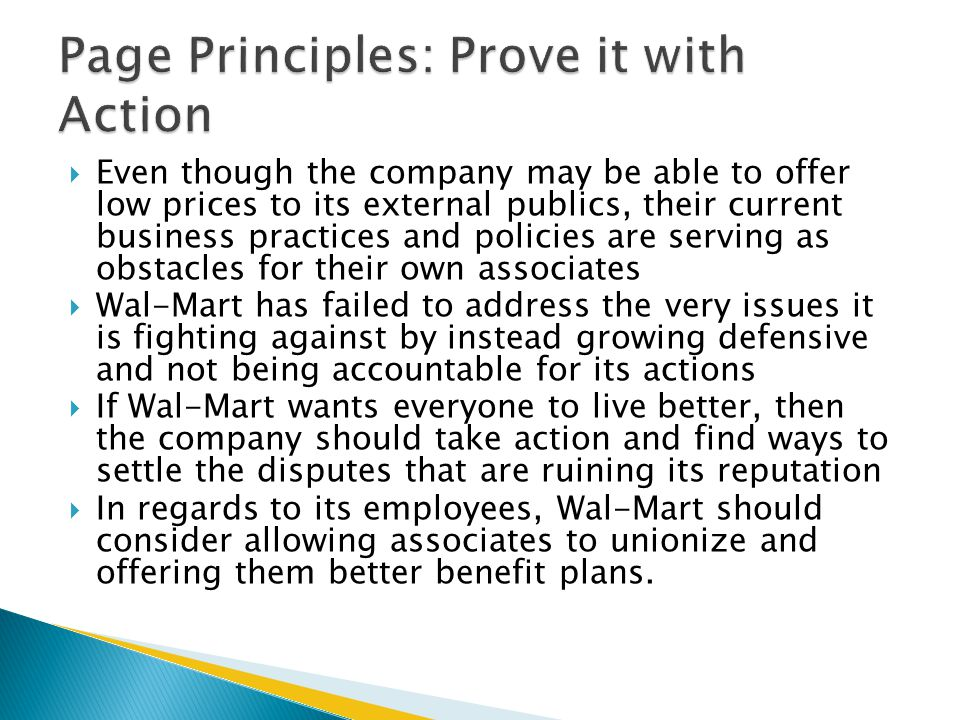 Page Principles: Prove it with Action