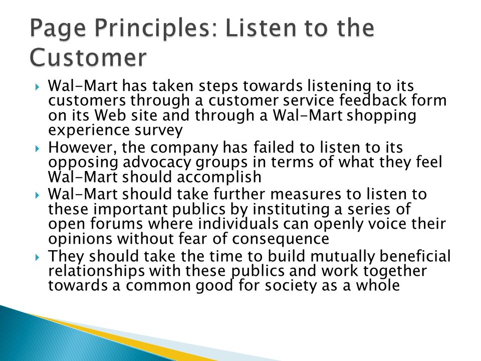 Page Principles: Listen to the Customer