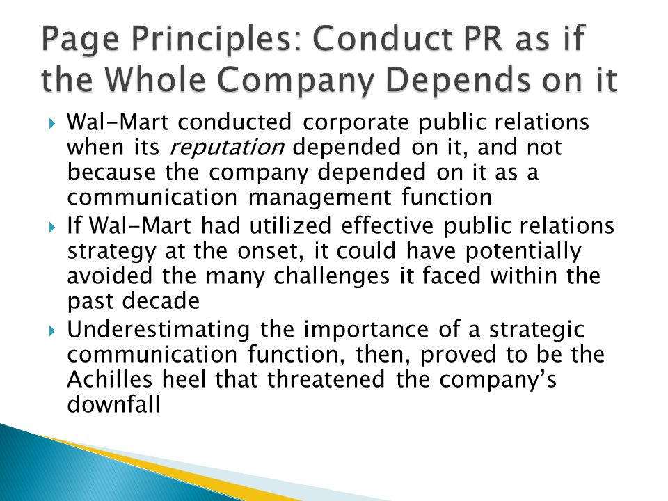 Page Principles: Conduct PR as if the Whole Company Depends on it