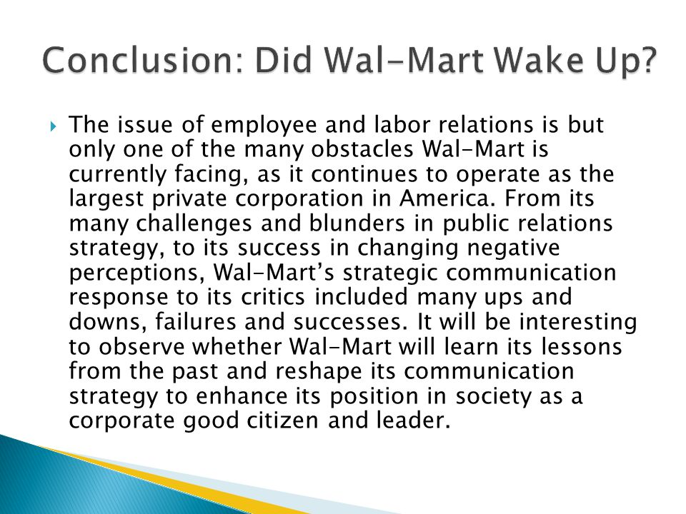 Conclusion: Did Wal-Mart Wake Up